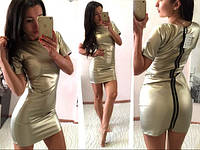 Облегающее платье мини из экокожи. Цвета  Роланда 5020