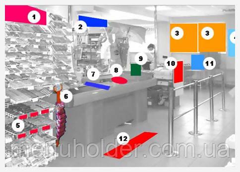 Размещение рекламной продукции в торговом зале, воблеры, стикеры, ситилайты, диспенсеры,