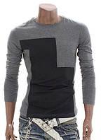 Двухцветная футболка с длинным рукавом