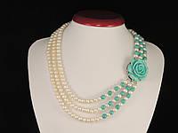 "Колье из жемчуга в три ряда ""Роза"", со вставками бирюзы, фото 1"