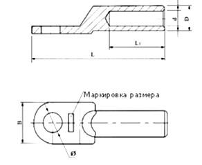 Габаритные и установочные размеры кабельного наконечника DL-95