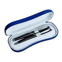Письменный набор: авторучка и капилярная ручка в подарочном футляре, синий