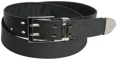 Кожаный мужской ремень под джинсы 2953 ARMANI чёрный ДхШ: 132х4 см.