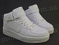 Кроссовки Nike Air Force высокие, белые, фото 1