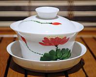Гайвань Цветы Тонкостенный Фарфор Ручной Росписи #113  ( 170 Мл)