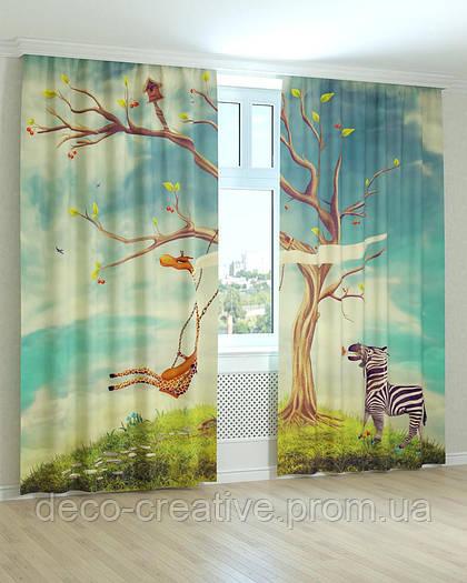 Фотошторы для детей дерево с животными