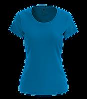 Футболка женская хлопковая, бирюзовая (голубая)