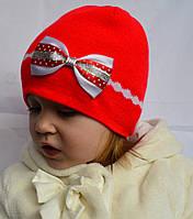 Детская вязаная шапочка с бантиком, фото 1