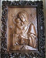 Икона резная Почаевская Пресвятая Богородица