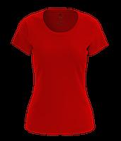 Футболка хлопковая женская красного цвета Футболки женские однотонные, L, Полуприлегающий, Украина