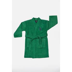 Халат детский махровый U.S.Polo Assn - USPA koyu yesil зеленый 3/4 года