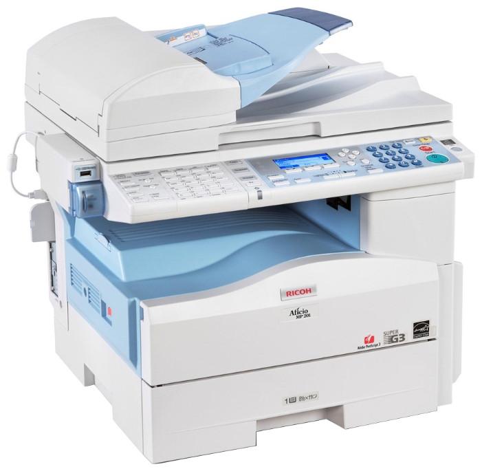 Ricoh Aficio MP 201SPF  – МФУ А4 формата, 20 стр./мин, сетевой принтер, цветной сканер, копир, факс G3.