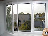 Окно металлопластиковое Rehau e-60 трехстворчатое 1400*1800 Фурнитура Winkhaus с двумя открываниями