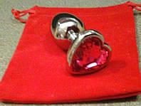 Анальная пробка сердце металл+розовый кристалл'
