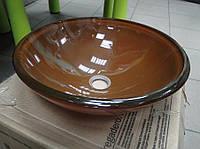 Оригинальный накладной умывальник стеклянный круглый 420 мм (HR 8509)