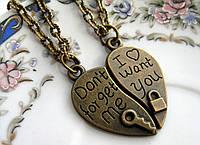 Парные кулоны для влюбленных, подвески в форме сердечка