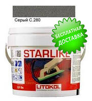 Litokol Starlike C.280 ведро 2,5 кг (серый), эпоксидная двухкомпонентная затирка Старлайк Литокол