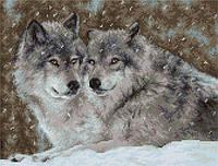 """Набор для вышивания нитками  """"Два волка"""""""