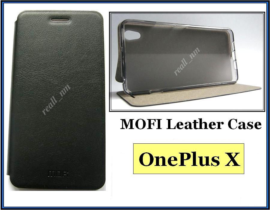 Черный кожаный чехол-книжка MOFI для смартфона OnePlus X