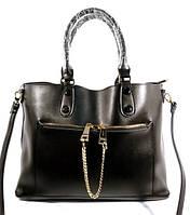 Кожаная женская сумка, саквояж 2 в 1 с клатчем Voee Vodd 60694 черная