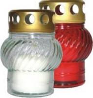 Лампадка стеклянная с запаской красная W001 12 h, 1 шт