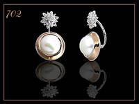 Арт 702 Серьги серебряные женские с жемчугом, пусеты