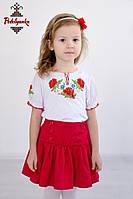 Вишита футболка для дівчинки Маки червоні