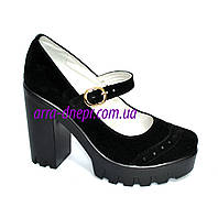 Женские замшевые туфли на тракторной подошве, фото 1