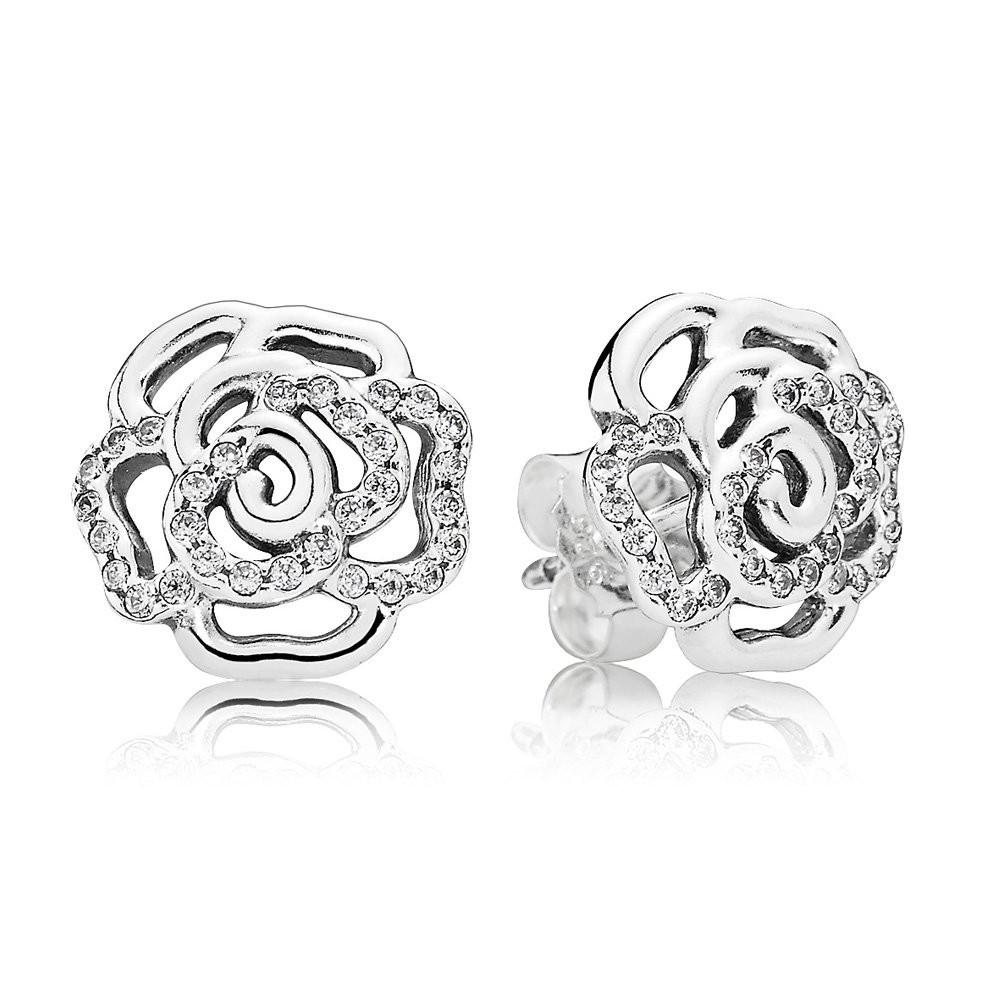 Серьги-пусеты «Сияющая роза» из серебра 925 пробы