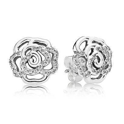 Серьги-пусеты «Сияющая роза» из серебра 925 пробы в стиле Pandora