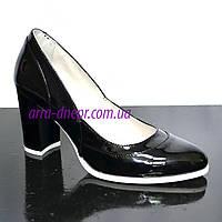 Женские черные туфли из натуральной лаковой кожи на высоком каблуке, фото 1