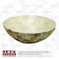 Круглое глубокое декоративное блюдо из перламутра натурального цвета (фруктовница)