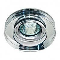 Точечный светильник (цоколь G5.3)MR16 прозрачный-серебро c LED лентой по периметру Feron 8080-2