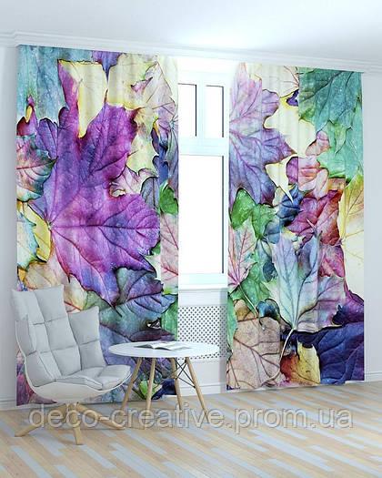 Фотошторы абстракция цветные листья
