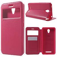 Чехол книжка боковой с окошком для Xiaomi Redmi Note 2 , ROAR KOREA, розовый