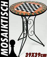 """Круглий столик садовий з мозайкою """"Шахи"""", фото 1"""