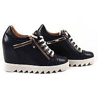 Модные женские ботинки Favi (удобные ,синие, кожаные, демисезонные, на танкетке, на платформе, на шнуровках)
