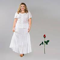 Длинная однотонная юбка со вставкой из кружева  IN 14013 Белый
