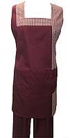 Передник перекидной с брюками, костюм горничной бордовый Atteks - 00804