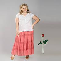 Длинная однотонная юбка со вставкой из кружева  IN 14013 Коралл