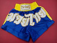 Шорты Муай Тай (для тайского бокса) TWINS синие с желтым