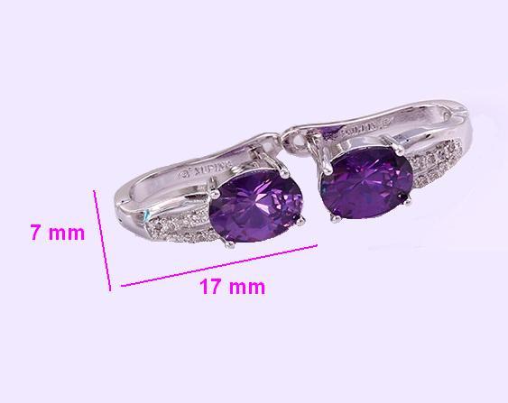 Сережки родовані, Класика з фіолетовім цирконієм, англ.замок, Xuping