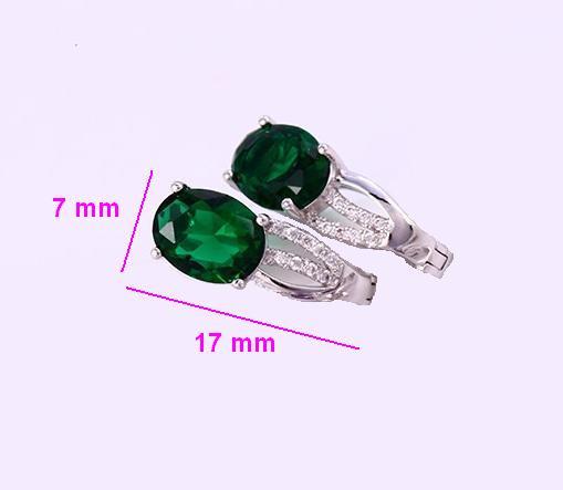 Сережки родовані, Класика з зеленим цирконієм, англ.замок, Xuping