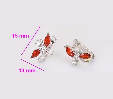 Сережки родовані, Гілочка з червоним цирконієм, англ.замок, Xuping