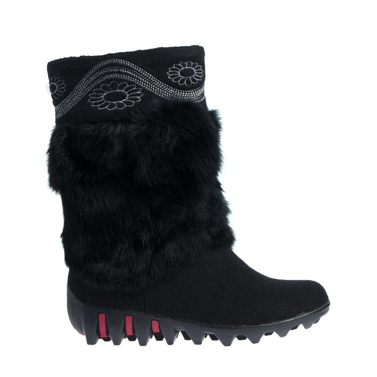 Чоботи зимові повсть текстиль та штучне хутро на плоскій підошві чорні
