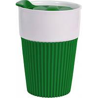 Термокружка Афина керамическая с силиконовой вставкой, 400 мл, зеленая, от 10 шт