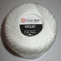 Нитки ирис белые violet 50 гр.