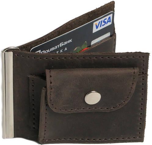 Кожаный зажим для купюр с монетницей Vladymir Pankratov VP200137 коричневый
