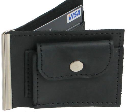 Кожаный зажим для купюр с монетницей Vladymir Pankratov VP200138 чёрный