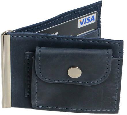Кожаный зажим для купюр с монетницей Vladymir Pankratov VP200139 синий